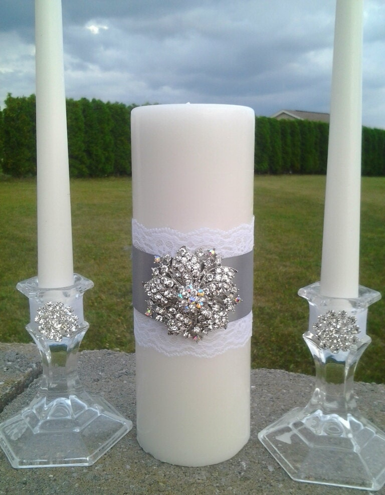 Wedding Unity Candle Set Wedding Candle Silver Grey Ceremony