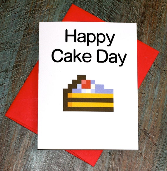 Happy Cake Day Funny Meme Birthday Card by TurtlesSoup on Etsy