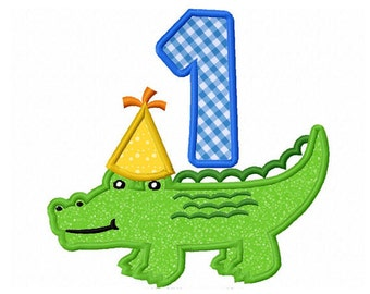 Birthday Alligator Applique Machine Embroidery Design NO:0164