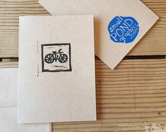 Gentleman's Bicycle -- Block Print Notecard in black & kraft
