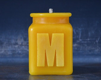 Handmade Personalized Letter M Monogram Beeswax Candle, Table Number, Hostess Gift, All Letters and Numbers Available