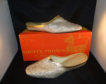Vintage Merry Mules by Beacon Ivory/Classic Gold Slippers 1970's Size 7M