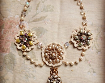 Vintage Bridal Necklace/ Vintage Assemblage Necklace/ Upcycled Vintage Jewelry