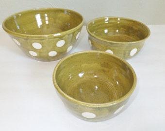 Olive Green Polka Dot Nesting Bowl Set