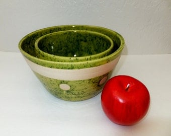 Large Green and White Ceramic  Bowl Set, Nesting Bowls