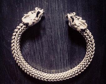 Dragon Asian Tribal Bracelet Cuff Bangle Miao Hmong Hill Tribe Nomad Soul Lock Vintage Antique Unique