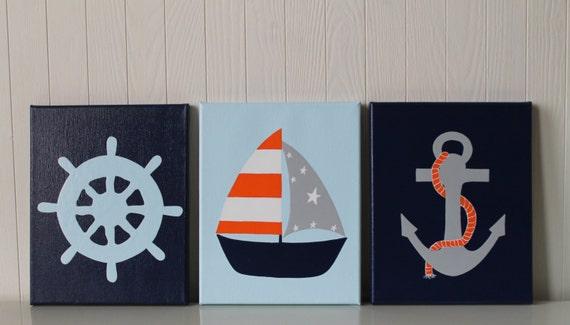Sophisticated Modern Nautical Nursery: Items Similar To Nautical Nursery Decor Ship's Wheel