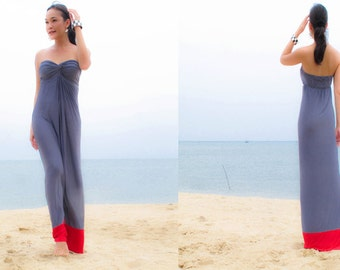 Color Block  Gray Red Strapless long maxi Sun dress all size