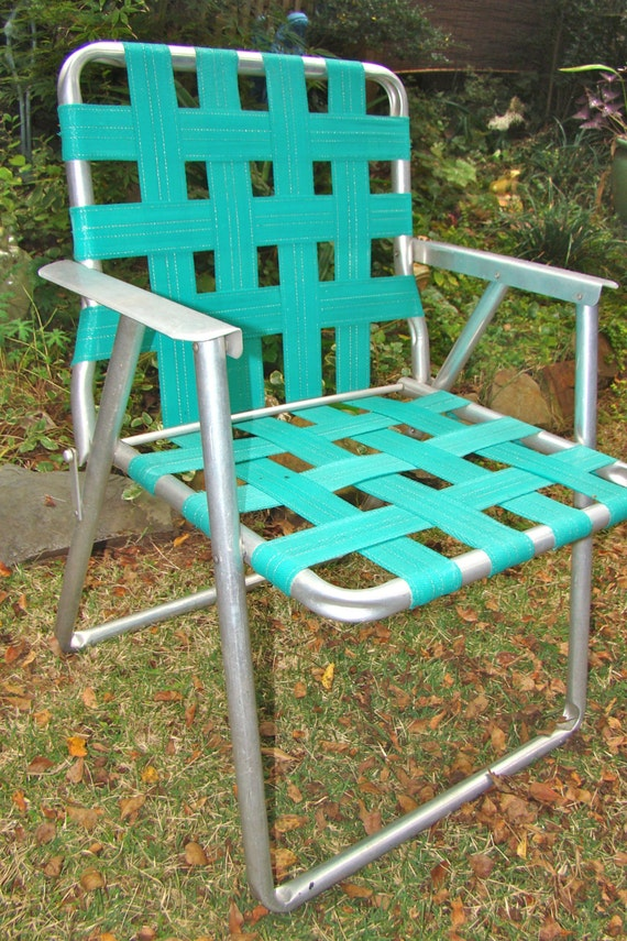 Aluminum Lawn Chair Folding Webbed RV Teal Vintage