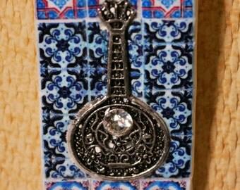 """Necklace Portuguese tile replica, Portuguese guitar """"FADO"""", antique portuguese tile necklace, necklace portuguese guitar fado,"""