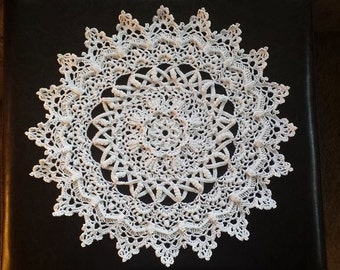 White Crochet Doily with a Twist