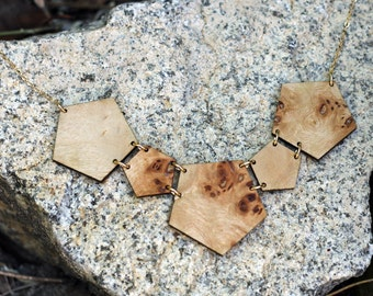Geometrical Necklace // Statement Necklace // Scoop Necklace // Salvaged WOOD Jewelry | GEO NECKLACE