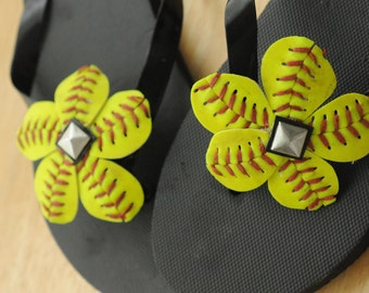 Handcrafted Softball Shoe Clips With a Metal Stud Center