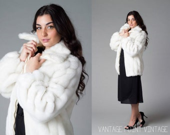 70's White Plush Faux Fox Fur Coat Medium Large