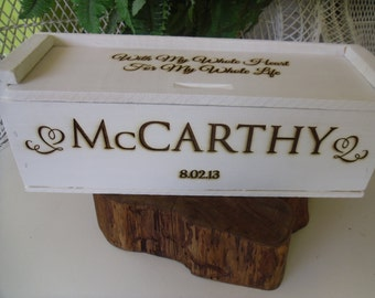 Wine Box for Rustic Wedding Ceremony or Gift Personalized with Last Name