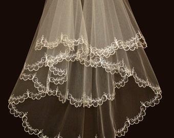 Bridal Veil - Hadley  Wedding Veil with Embroidery - Embroidered Veil-Drop Veil-Lace Veil-Bridal Accessories