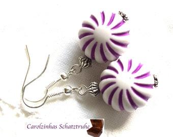 earrings little snail purple