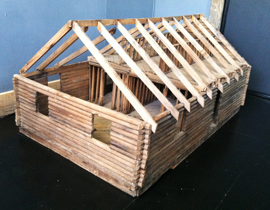 The catskills rustic log cabin vintage doll house barn scale for Miniature architecture