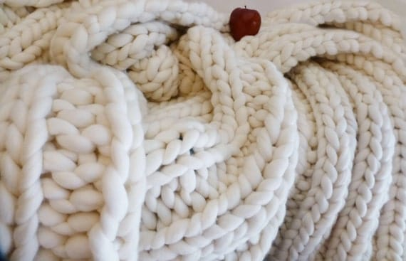 Chunky Blanket, 30x50, Merino,Natural, Hand Knit, Extreme Knitting