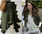 Kate Middleton Olive Green Merino Three Sides Ruffled Cute Shawl, Handknit, Express Delivery