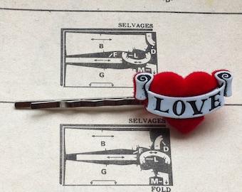 Love Heart Tattoo Hair Clip
