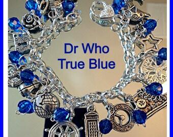 Dr Who Fandom  Charm Bracelet Tribute True Blue geekery Style Jewelry