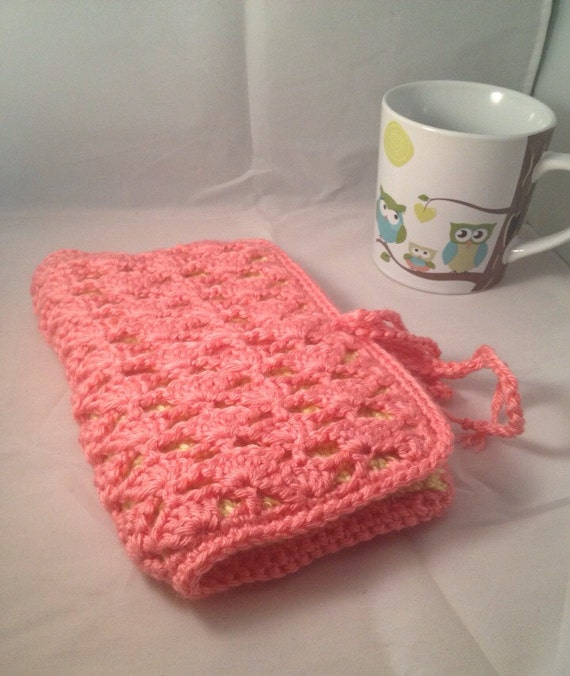 Lace Crochet Kindle Case in Strawberry and Lemon Meringue