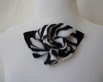 Zebra print fleece rose pin