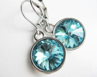 Turquoise crystal earrings, blue zircon, Swarovski jewelry teal blue, gifts for her, lightweight earrings most popular