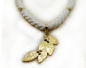 White Rope Necklace Leaf Pendant Necklace Gold Tone Chocker Necklace