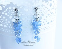 Bargain sale. Price reduced by 50%. Earrings accessories, ornament for the ears, light blue, love, valentines day, 2015 trends,