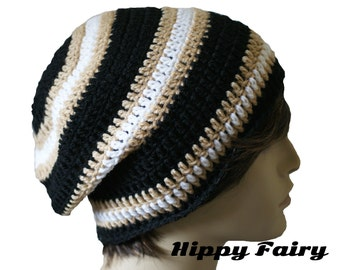 Mens stripe beanie, slouch hat, crochet beanie Mens beanie hat, , crochet mens hat, beanie for men, vegan hat