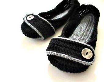 Women's Crochet Slippers - Black and Gray Button Slippers - Womens sizes 4 5 6 7 8 9 10 11