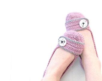 Orchid Crochet Slippers -  Purple and Gray crochet women's slippers