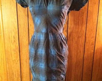 1950s Blue Plaid Dress with Jacket