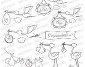 Baby Girl Boy Newborn Birth Announcement Congratulations Digital Stamp Its A Girl Boy Stork Bundle Doodle Instant Download Clip Art 30062