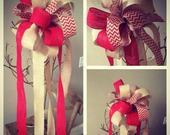 Christmas Tree Topper // Bow // Red // Chevron // Burlap