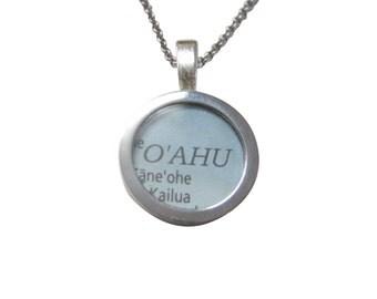 Oahu Hawaii Map Pendant Necklace