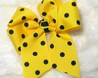 Bright Yellow with Black Polka Dots 4 Inch Single Hair Bow Tied with a Yellow and Black Center Tie