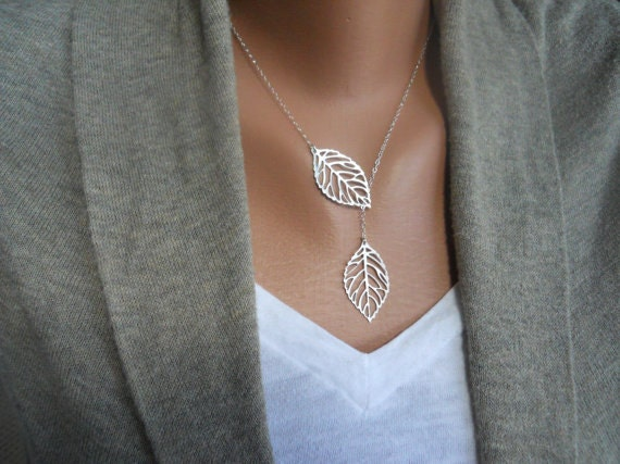 Double sterling silver leaves necklace lariat