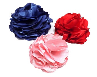 Pom Posy Satin Flower -  Dog Collar Attachment | Wedding or Special Occasion
