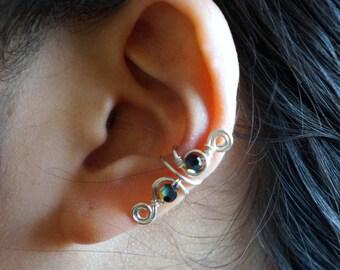 99)Handmade Ear Cuff with Swarovski crystal.