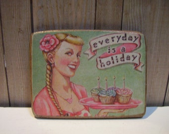 Sweet Cupcakes Miniature Wooden Plaque 1:12 scale