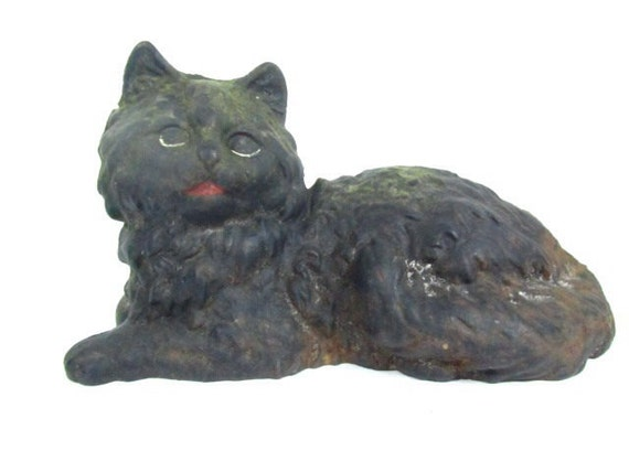 Antique cast iron cat,iron door stop,black cat,home decor,farmhouse decor,iron animal,