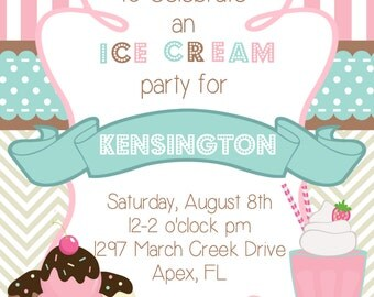 Pink Striped and Chevron Neapolitan Ice Cream Birthday Invitation