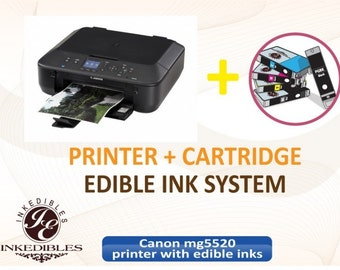 Inkedibles Canon MG5520 Bundled Printing System - includes brand new printer (with scanner) with complete set of edible ink cartridges