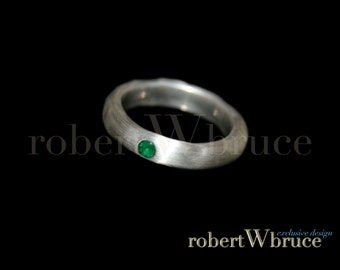 Handcast Oxidized Argentium & Emerald Wedding Band w/ Gemstone Variation - Exclusive rWb Custom Design
