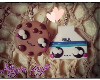 Milk and cookie earrings in polymer clay