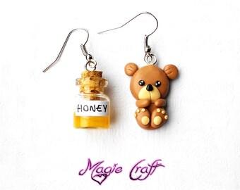 Teddy Bear and Honey Earrings - Handmade in Polymer Clay