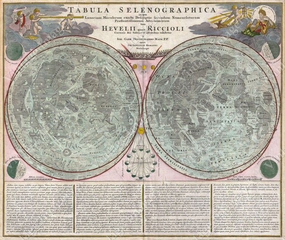 Giant Vintage Antique Style 1707 Homann And Doppelmayr Lunar Map Of The Moon Art Print
